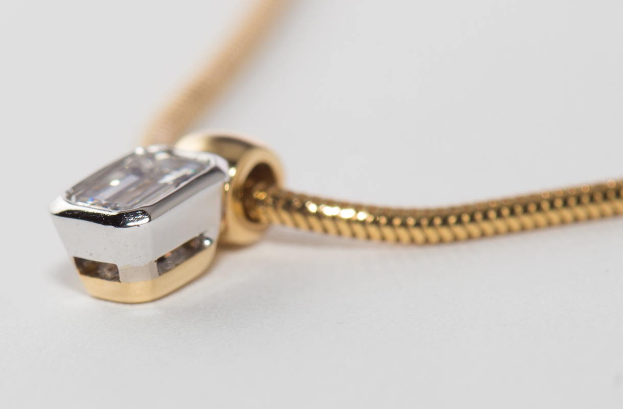 Sproogle premium bespoke jewellery pendant and chain pendant length 92mm with a 034ct diamond in white gold rub over setting and yellow gold top loop 18ct yellow gold shank chain aloadofball Images